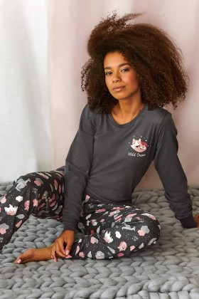 Grafitowa piżama z drukiem...