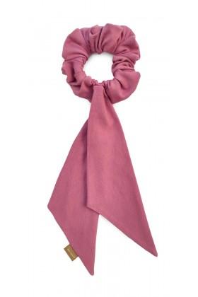 Różowa frotka ze wstążką z bawełny organicznej Dolce Vita
