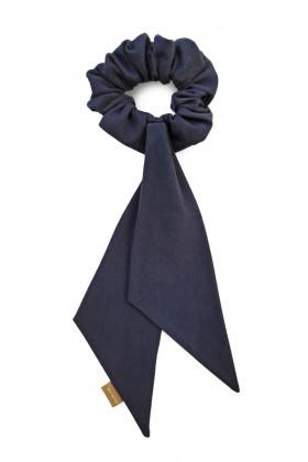 Navy organic cotton ribbon bow scrunchie