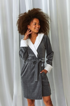 Velvet dark grey hooded robe