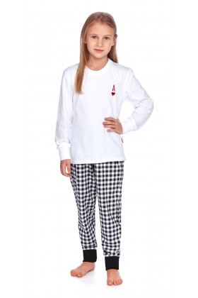 Kids long sleeve white pyjama sets 100% cotton