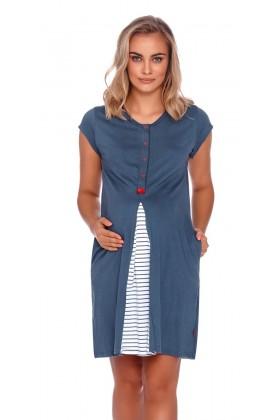 Granatowa koszula nocna dla kobiet w ciąży i karmiących
