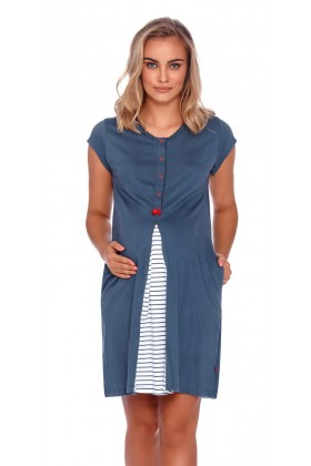 Women's maternity nursing breastfeeding navy nightdress